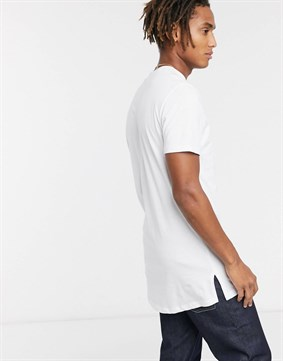 Longline T-shirt Regular Fit-Beyaz