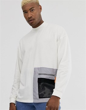 Longsleeve Pocket T-shirt-Krem