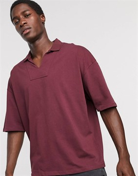 Oversize Polo Yaka T-shirt-Bordo