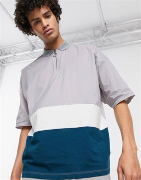 Oversize Polo Yaka T-shirt Technical woven-Gri