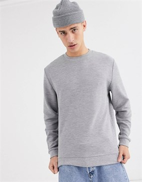 Ribbed Sweatshirt-Gri
